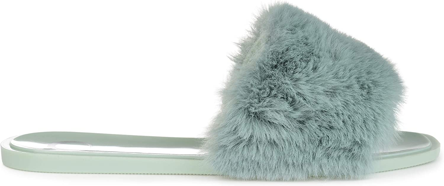 Brinley Discount All stores are sold mail order Co. Womens Faux Slide Fur Jelly
