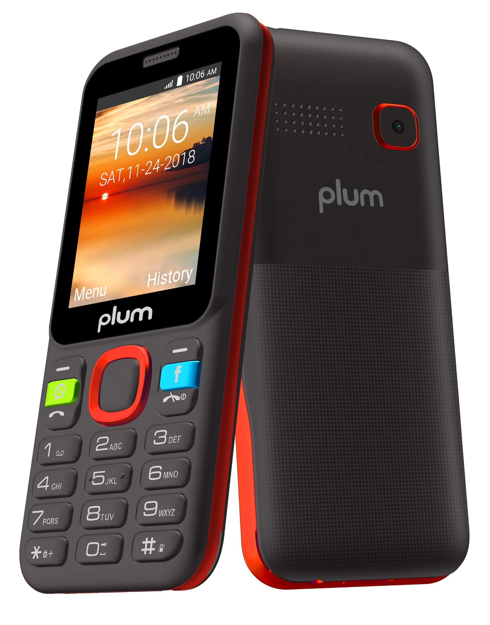 Amazon Com Plum 3g Basic Phone Gsm Unlocked Cell Phone Whatsapp Facebook Dedicated Keys Att Tmobile Metro Cricket Mint Net10 Straight Talk Walmart Mobile Red A105red