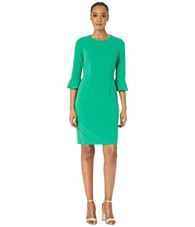 Donna Morgan 3/4 Sleeve Crepe Sheath Dress with Bell Sleeve (Bright Jade) Women