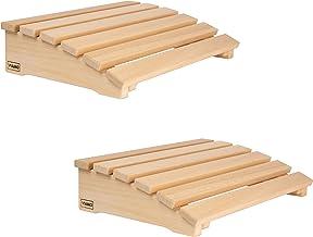 VIAMO Lot de 2 appuie-têtes de sauna avec dossier incurvé en bois d'abachi - 39,5 x 30 cm