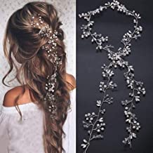 Deniferymakeup Bridal Rose Gold and Gold Silver Extra Long Pearl and Crystal Beads Bridal Hair Vine Wedding Head Piece Bridal Hair Accessories Headband Hair Jewelry Hair Accessories (Silver)