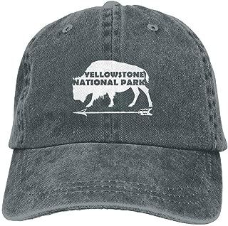 NVJUI JUFOPL Yellowstone National Park Old Faithful Buffalo Washed Retro Adjustable Cowboy Caps Golf Hat for Woman and Man