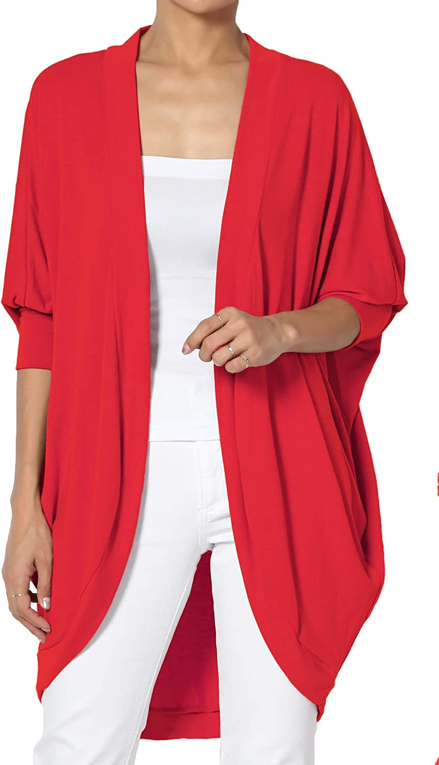 TheMogan S~3X Cocoon Draped Jersey Knit 3/4 Sleeve Oversized Open Front Cardigan