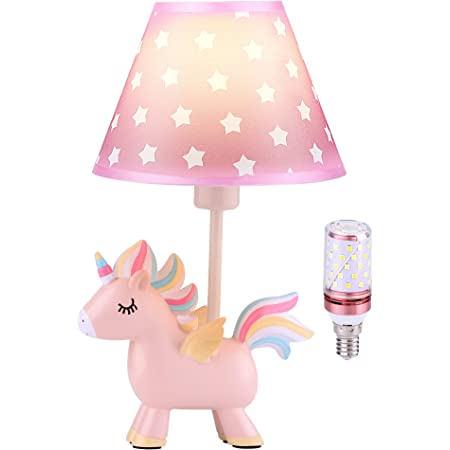 Cute Unicorn Lamp for Girls Bedroom, Kids Bedside Table Lamp with 3-Color Mode LED Blub & Shade, Unicorn Night Light Gifts for Girls Kids Bedroom Decor, Plug in Pink Lamps for Baby Nursery Decor