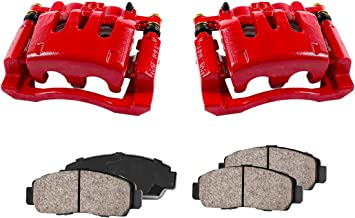 CCK02422 [2] REAR Performance Red Powder Coated Calipers + [4] Quiet Low Dust Ceramic Brake Pads