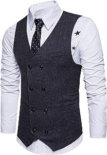 Gilet Uomo Elegante V Scollo Single Breasted Slim Fit Blazer Moda Business Ufficio da Matrimonio Cerimonia Tailleur Smanicato Corpetto