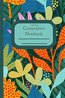 Composition Notebook Wide Rule: Retro Floral Jungle Flowers standard wide ruled composition notebook journal for all writi...