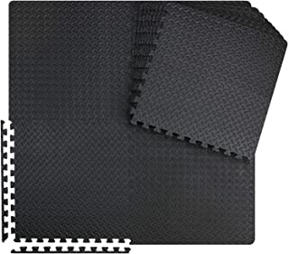 innhom Gym Mats Exercise Mat Puzzle Foam Mats Gym Flooring Mat Interlocking Foam Mats with EVA Foam Floor Tiles for Gym Equipment Workouts, Black/Gray