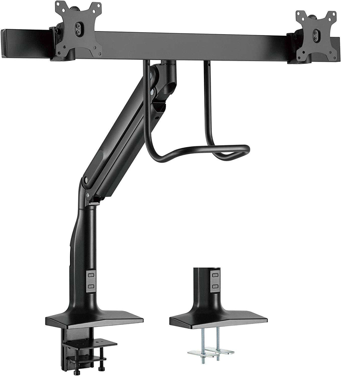 VIVO 17 to 32 inch Aluminum Dual Monitor Articulating Pneumatic Arm Mount with Pull Handle, Clamp-on Desk Stand, Fits 2 Screens with Max VESA 100x100, Black, STAND-V102H
