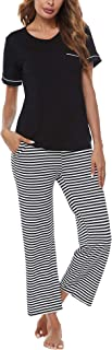 FINWANLO Womens Pajamas Set Short Sleeve Top and Pants with Pockets Cotton Sleepwear Pjs Sets