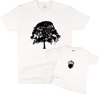 The Spunky Stork Oak Tree & Acorn Daddy & Me Matching Adult Baby Toddler Shirt (Each Sold Separately)