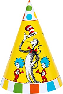 BirthdayExpress Dr Seuss Cat in The Hat Party Supplies - Cone Hats (8)