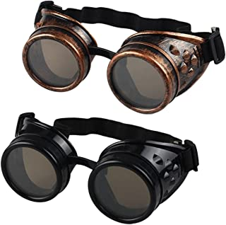Buytra Vintage Steampunk Goggles 2 Pack, Victorian Retro Steampunk Goggle Cyberpunk Goggles for Women, Men, Kids