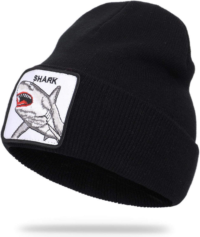2021 New Spot Fashion Mens Beanie Animal Wolf Embroidery Winter Hats Knitted Beanies for Men Streetwear Hip hop Skullies Bonnet Black-Shark