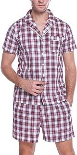 Hawiton Men's 100% Cotton Striped Pajamas Set Short Sleeve Lounge Sleepwear Size X-Large Red
