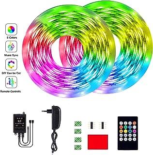 GUSODOR Tira Led 10M Tiras de Luz LED RGB SMD3528 Multicolor Iluminación con 300 Leds 20 Claves con control remoto por infrarrojos para el hogar, dormitorio, TV, cocina, escritorio, decoración de bar