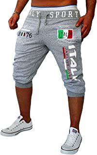 Ocamo Men Fashion Casual Fifth Pants Printing Pattern Cotton Trunks Sports Short Pants