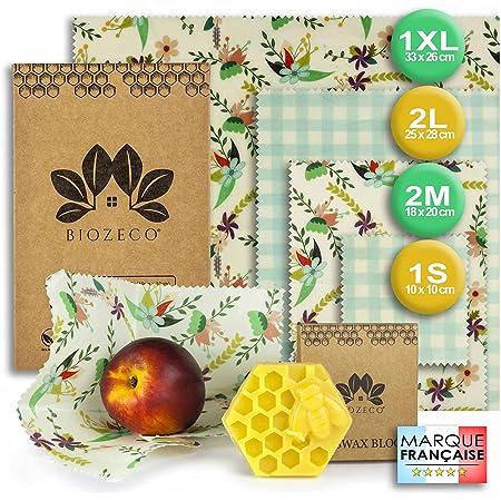 BIOZECO® Lot Complet de 6 Emballages Alimentaires Réutilisables en Cire d'Abeille – Bee Wrap Écologiques et Lavables de Plusieurs Tailles – Film de Conservation des Aliments Efficace et Zéro Déchets