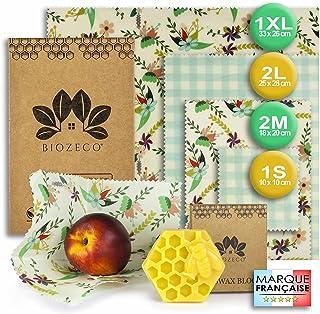 BIOZECO® Lot Complet de 6 Emballages Alimentaires Réutilisables en Cire d'Abeille – Bee Wrap Écologiques et Lavables de Pl...