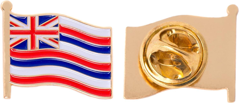 Hawaii HI State Enamel Made of Metal Souvenir Hat Men Women Patriotic (Waving Flag Lapel Pin)