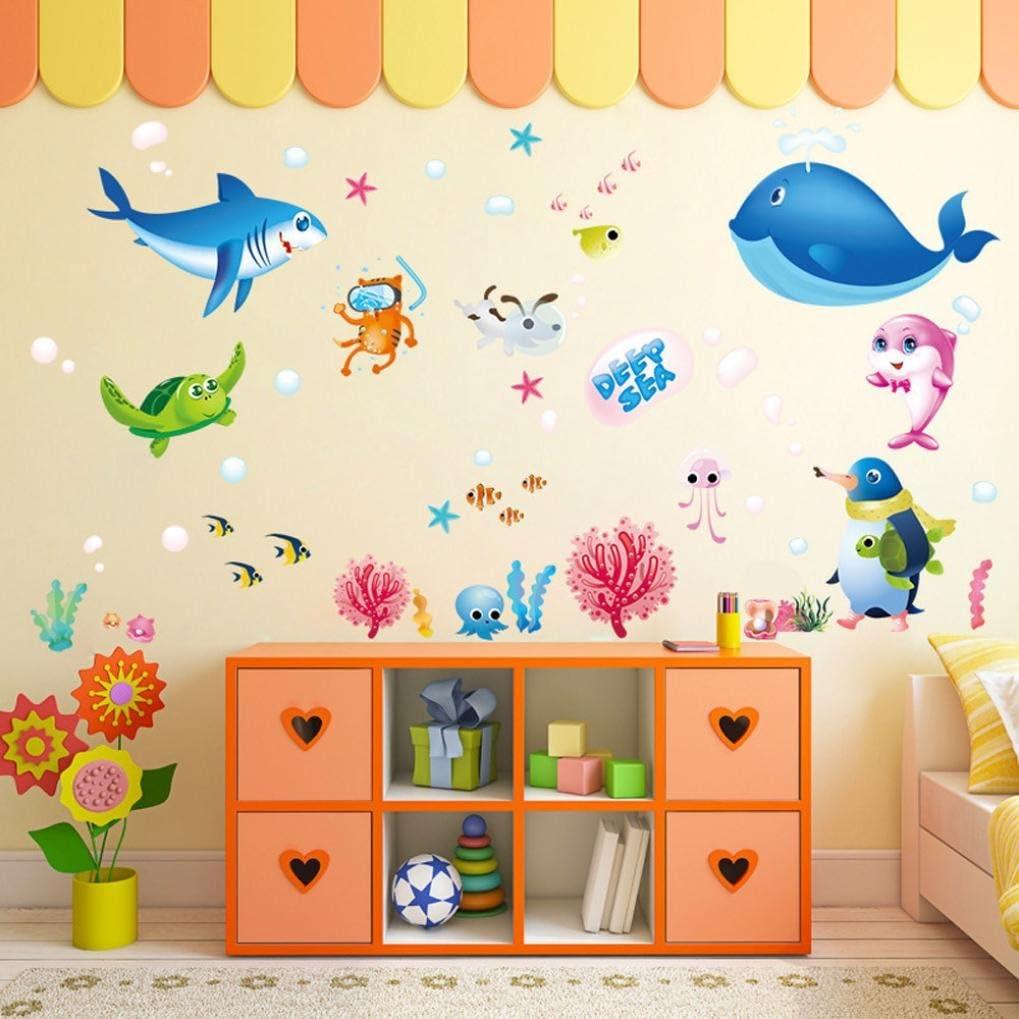 Amazon Kukiwa墙贴 海 魚ステッカー 子供部屋ベビーベッドルーム ベッドルーム ウォールステッカー ウォールステッカーおしゃれはがせる 壁紙 壁紙はがせる かわいい おしゃれ 壁紙シール 壁飾り 装飾 水色 50 70cm ウォールステッカー オンライン通販