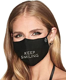 Keep Smiling Rhinestone Saying Breathable And Reusable Half Face Earloop Nose Wire Black Cotton Blend Unisex Premium Desig...