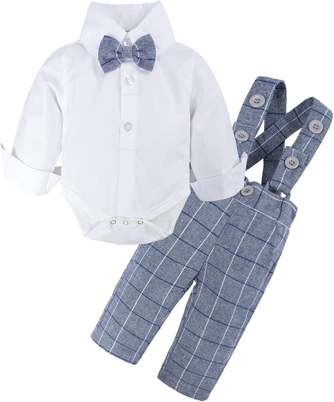 BIG ELEPHANT Baby Boys Bowtie Dress Shirt,Suspender Pants Set,Gentleman Formal Outfit Suits