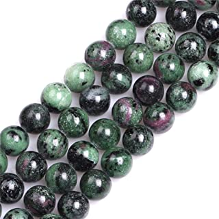 GEM-Inside Natural 12mm Ruby Zoisite Gemstone Loose Beads Round Crystal Energy Stone Power for Jewelry Making 15''