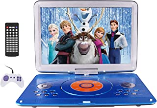 "16.9"" Portable DVD Player with14.1"" Large Swivel Screen, Car DVD Player Portable with 5 Hrs Rechargeable Battery, Travel DVD Player for Car Kids, Sync TV, Support USB SD Card(Car Charger Wall Charger)"