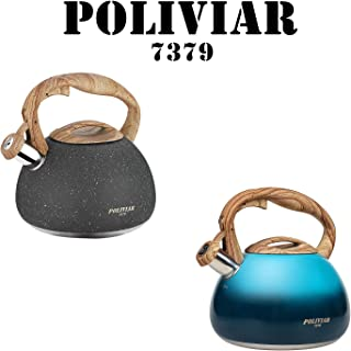 Poliviar Tea Kettle, 2.7 Quart Natural Stone/Aqua Blue with Wood Pattern Handle Loud Whistle Food Grade Stainless Steel Teapot, Anti-Hot Handle and Anti-Rust, Suitable for All Heat Sources