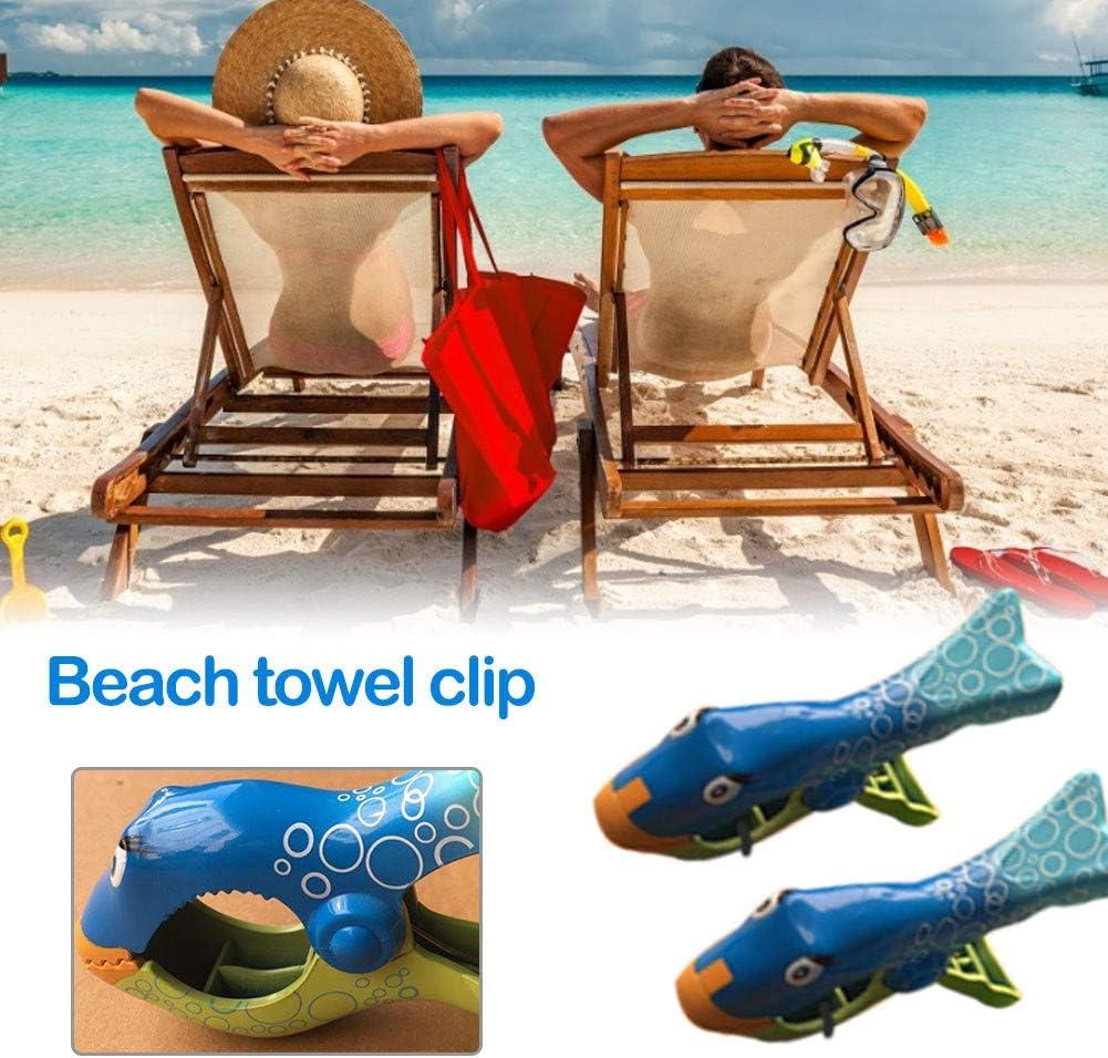 12 * 7 Cm Chyuan Clip per Asciugamano da Spiaggia Mollette Grandi Plastica 2 Pezzi 2 Pezzi Vestiti Coperta Lenzuola per Trapunta Forma di Pesce Asciugamani