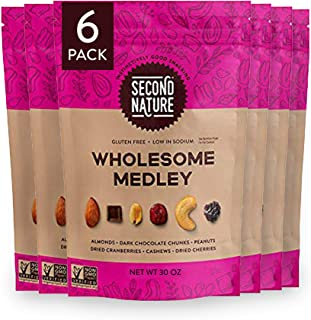 Second Nature Wholesome Medley Trail Mix - Nut Snack Blend, Gluten Free - 30 oz Resealable Standup Pouch (Pack of 6)