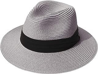 Womens UPF50 Foldable Summer Straw Hat Wide Brim Fedora Sun Beach hat
