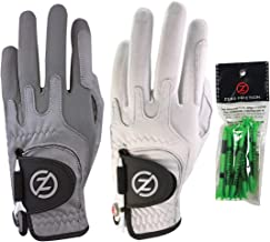 Zero Friction Men's Cabretta Elite Golf Glove 2 Pack, Includes Free Tee Pack, Universal-Fit