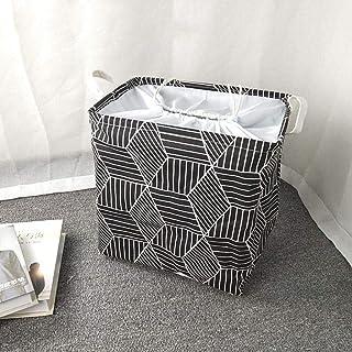 ZXXFR Panier À Linge Sale Corbeilles À Linge,Cordon Noir De Forme Carrée Géométrique Paniers À Linge Design De Mode De Rec...