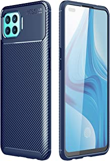 OPPO F17 Pro Case, Carbon Fibre Grip Slip-Resistant Soft TPU Silicone Shockproof Protection Case Cover for OPPO F17 Pro Blue