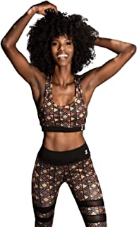 Zawadi Collections - Comfortable Seamless African Print Sports Bra for Yoga Gym Workout Fitness- Strappy with Removable Pa...