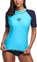 Sociala Women's Rash Guard Short Sleeve Swim Shirt UPF 50+ Rashguard Colorblock