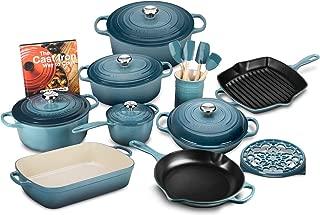 Le Creuset 20-piece Signature Cast Iron Cookware Set (Marine)