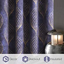 KGORGE Blackout Curtains 84 inches Long, Peacock Feather Like Printed Curtains for Living Room Dinning Room, Thermal Insulation Privacy Protected Home Decor, 52 x 84 per Panel, 2 Pcs, Navy Blue