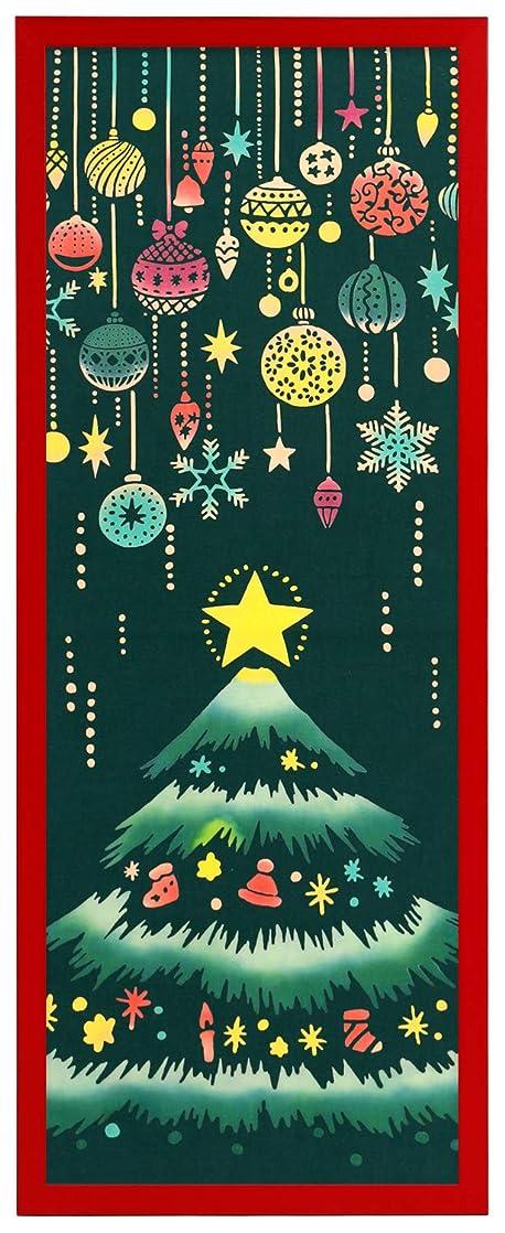 反対するシャツひらめきAirashika(あいらしか) 和雑貨 注染手ぬぐい『クリスマスツリー』 33×90cm 額縁セット (カラータイプ/
