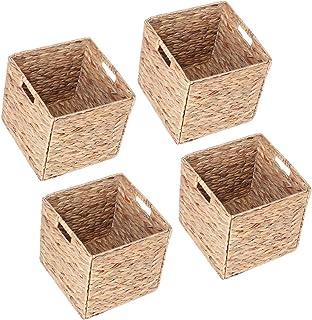 GOTOTOP boîte de Rangement (Lot de 4) - Panier en Jacinthe d'eau tissé à la Main - Panier pour vêtements, Jouets ou Magazi...