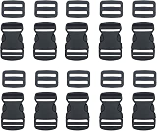 """10 Set 1 Inch Flat Dual Adjustable Plastic Quick Side Release Plastic Buckles and Tri-Glide Slides for Luggage Straps Pet Collar Backpack Repairing (Black, Fit for 1""""/25mm Webbing Straps)"""