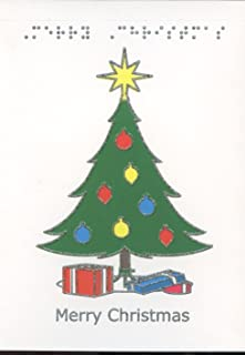 Braille and Tactile Greeting Card: Merry Christmas, Gifts with Tree