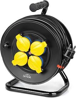 SIMBR IP44 Kabeltrommel, mit Überhitzungsschutz, wasserdichte Kabel aus Gummi,25m, H07RN-F 3  1,5mm2, mit 4 Schutzkontakt Steckdosen, 230V/16A für Außenbereich, Schwarz