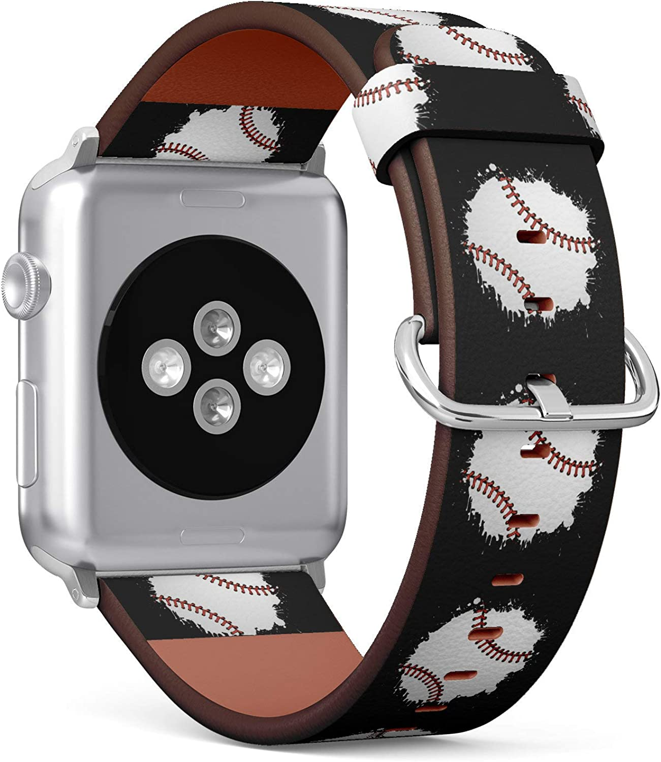 (Water Paint Splash Baseball Illustration) Patterned Leather Wristband Strap for Apple Watch Series 4/3/2/1 gen,Replacement for iWatch 42mm / 44mm Bands