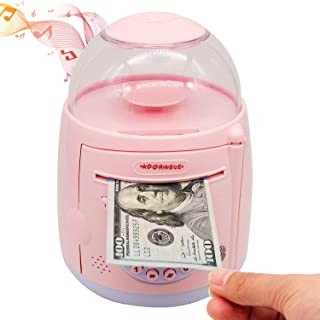 CREFUN Electronic Piggy Bank Coin Bank NM9541 2020 New Money Bank ATM Machine Password Fingerprint Kid Money Safe Pink for Boy Girl Including Coin Spin, Balance Report, 20 Music, 10 Vehicle Intro