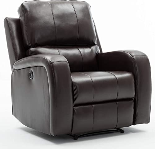 Bonzy Home Power Recliner Chair Air Leather - Overstuffed Electric Faux Leather Recliner with USB Charge Port - Home ...