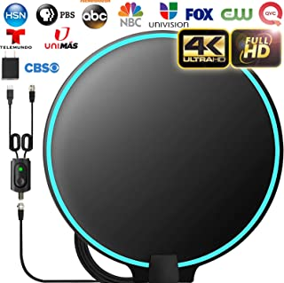 Gesobyte Amplified HD Digital Round TV Antenna Long 200+ Miles Range - Support 4K 1080p Fire tv Stick and All Older TV`s - Indoor Smart Switch Amplifier Signal Booster - 18ft HDTV Cable/AC Adapter