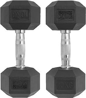 be3a531f4 DTX Fitness 2 x Poids Haltère Hexagonale en Caoutchouc de 10kg